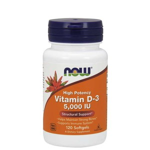 NOW FOODS VITAMIN D-3 5000 IU 120 KAPS.
